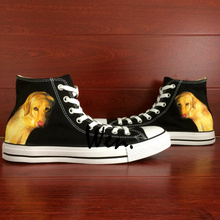 Wen Design Custom Black Hand Painted Shoes Pet Dog Golden Retriever High Top Canvas Sneakers Birthday Gifts