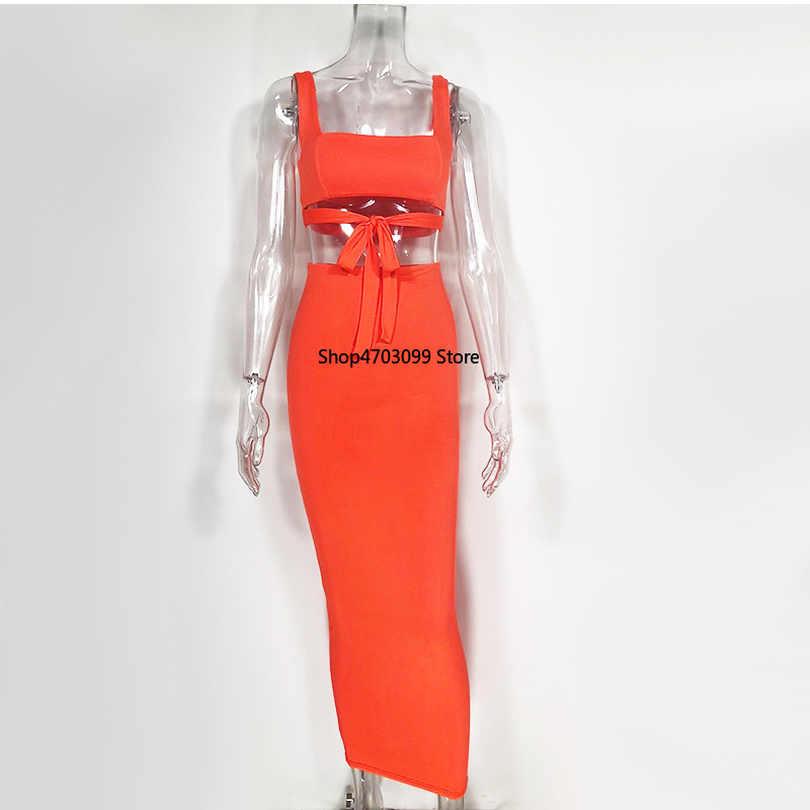 2019 Sexy dwuczęściowy zestaw 2 częściowy zestaw kobiety dwuczęściowy stroje Crop top i spódnica zestaw Bodycon pasujące zestawy jesień nowy