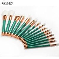 15Pcs Unicorn Makeup Brush Set Powder Foundation Cosmetic Brush Oval Green Gold Handle Eyeshadow Blending Make