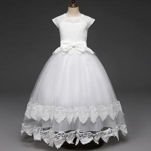 Image 2 - תחרה Teen בנות שמלת 2018 חדש הטולה ילד חתונה לבן נסיכת תחרות שמלת שושבינה שמלות לילדים מסיבת ערב בגדים