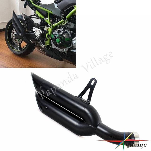 Papanda Motorcycle Black Stainless Steel Retro Exhaust Muffler Twin Silencer Pipes For Kawasaki Z900