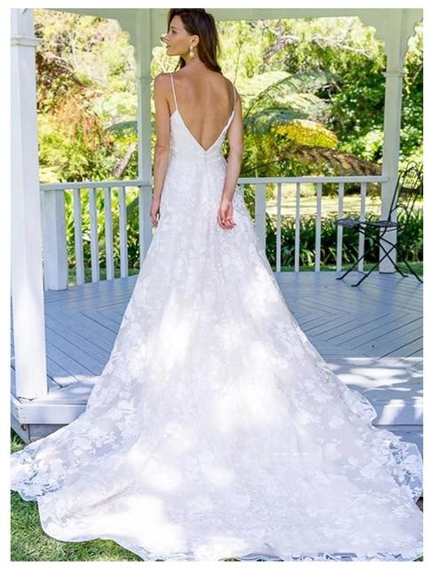0b9597bc2 SoDigne Cintas de Espaguete Vestido Casamento 2019 Profundidade V neck Vestidos  Noiva De Novia Sexy Backless