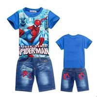 2017 Retail Spiderman Kids Clothing Sets Fashion Cartoon Children Summer Shirt Jeans Shorts Set Toddler Boys