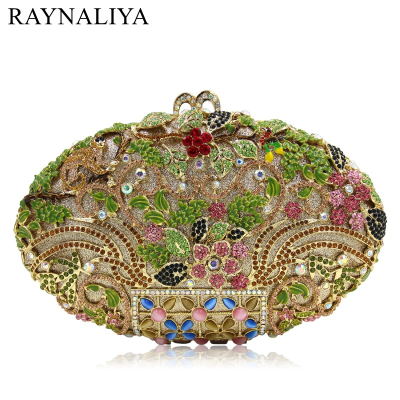 Luxury Crystal Clutch Evening Bag Gold Flower Party Purse Women Wedding Bridal Handbag Pouch Soiree Pochette Bag SMYZH-E0335 yu19 1 crystal evening bag clutch peacock diamond pochette soiree women evening handbag wedding party purse clutch bag