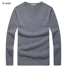 E-artist Men's Slim Fit Casual V-Neck Knitted Wool Pullover Sweaters Autumn Winter New Long Sleeve Tops Plus Size 5XL M03