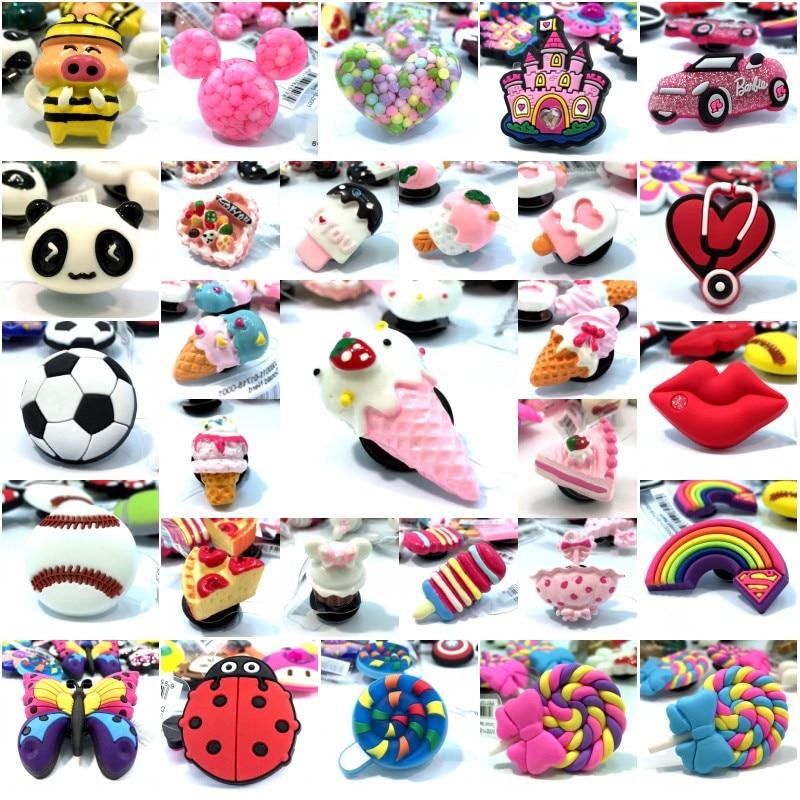 1pcs High Imitation Shoe Charms Ice Cream Ladybug Soccer Rainbow Bee Shoe Buckles Accessory Fit Bracelets Croc JIBZ Kids Gifts