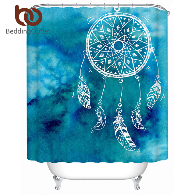 BeddingOutlet Dreamcatcher Shower Curtain Waterproof Polyester Blue Bathroom With Hooks Watercolor Home Decoration