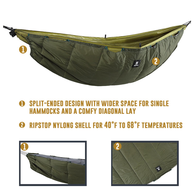 OneTigris Hammock Under-quilt Lightweight Full Length Hammock Underquilt Under Blanket 40 F to 68 F (5 C to 20 C)