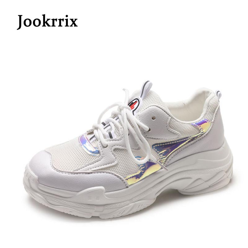 Jookrrix 2018 Spring Fashion Brand Lady Casual White Shoes Women Sneaker Leisure Shoes Breathable Flats Cross-tied Lace Up Mesh