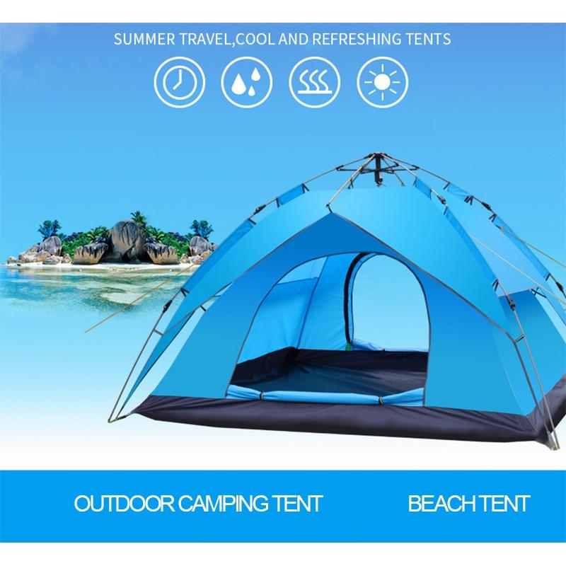 цена Double-layer tent outdoor 1-2 people/3-4 people automatic speed open pop-up windproof waterproof beach camping tent large space в интернет-магазинах