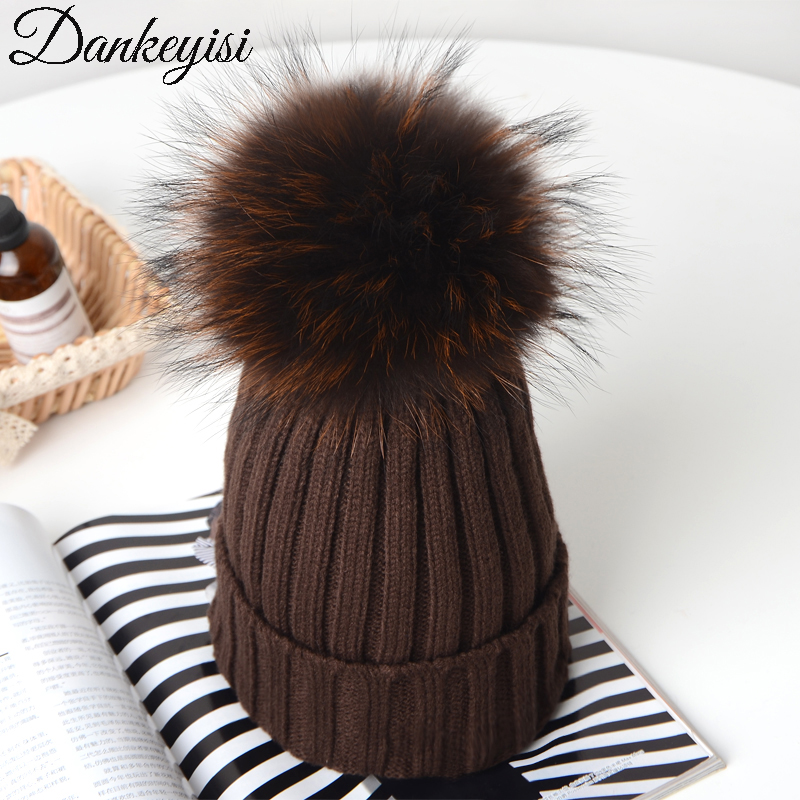 DANKEYISI Knitted Beanies Winter Hats Real Fox Fur Pom Poms Ball Hat Skullies Thick Female Cap Women Beanie girl s wool hat