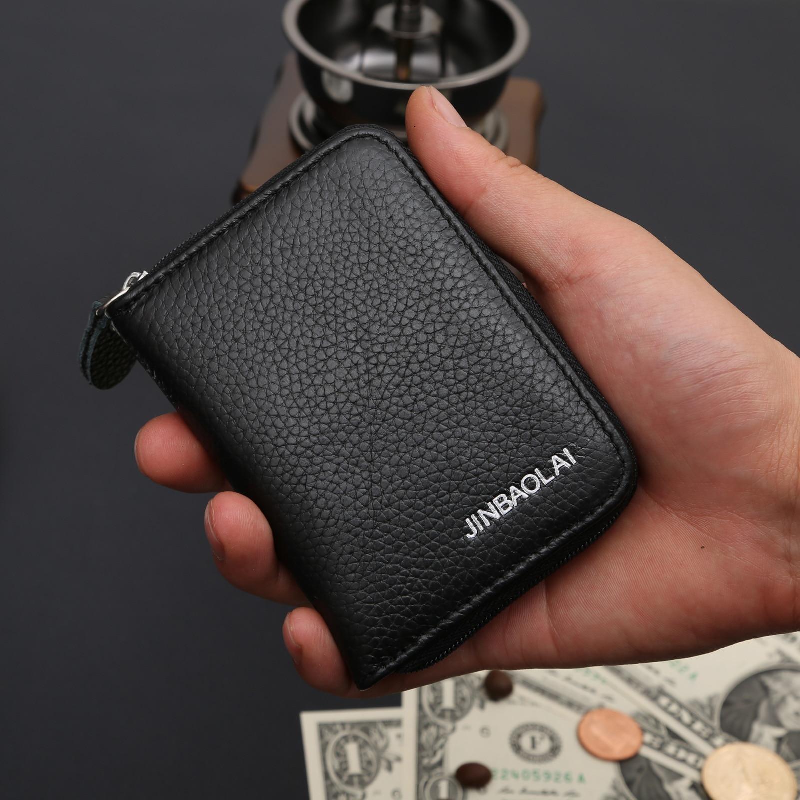 20fb7c9ec10b 100% Genuine Leather Men Wallet Brand Luxury Fashion Casual Purse Money ID  Card Holder Male Clutch Bag thin Short Wallets GB8042