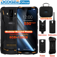 IP68/IP69K (Outdoor Kotak) doogee S90 Super Modular Kasar Ponsel Layar 6.18 Inci 5050 MAh Helio P60 Octa Core 6GB 128GB