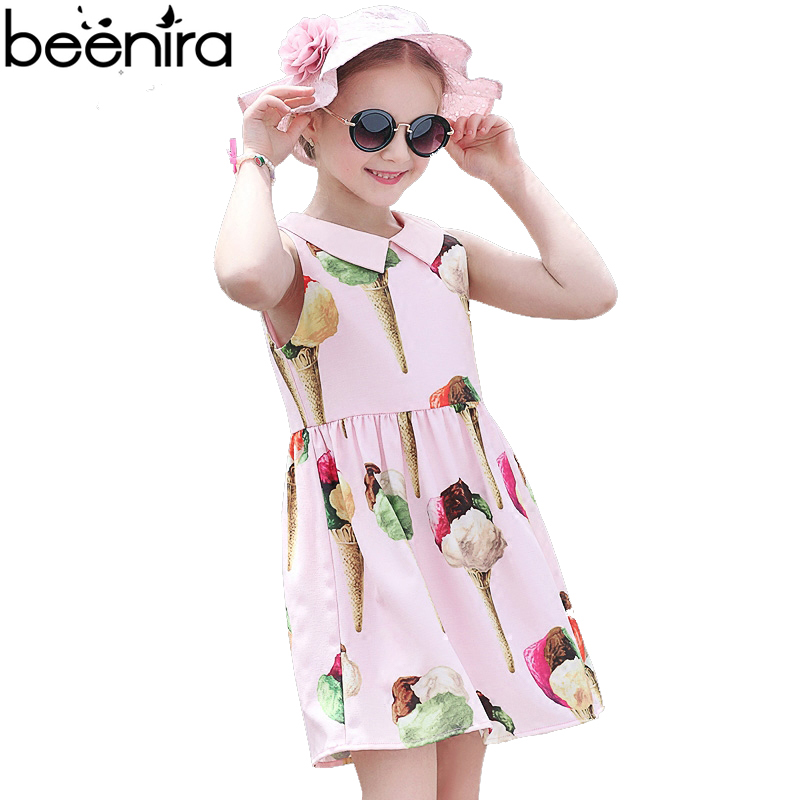 Summer Girls Dress Kids Princess Costume Child Ice Cream Print Sleeveless Pink Color Clothing for Party 4y-14y High Quality
