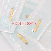 100 pcs PCD Lamina Tebori Microblading 14 Pin Hard Blades Permanent Makeup Tattoo Needles For 3D Eyrbrow Manual Pen
