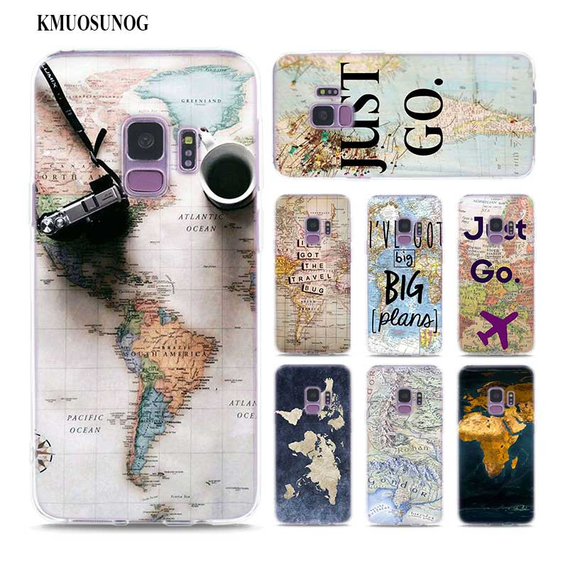 Transparent Soft Silicone Phone Case World Map Travel Just Go for Samsung Galaxy Note 9 8 S9 S8 Plus S7 S6 Edge S5 S4 Mini