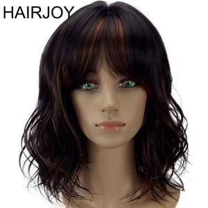 Image 1 - HAIRJOY peluca sintética para mujer postizo de pelo degradado, marrón, de longitud media, con flequillo, resistente al calor, 6 colores, Envío Gratis
