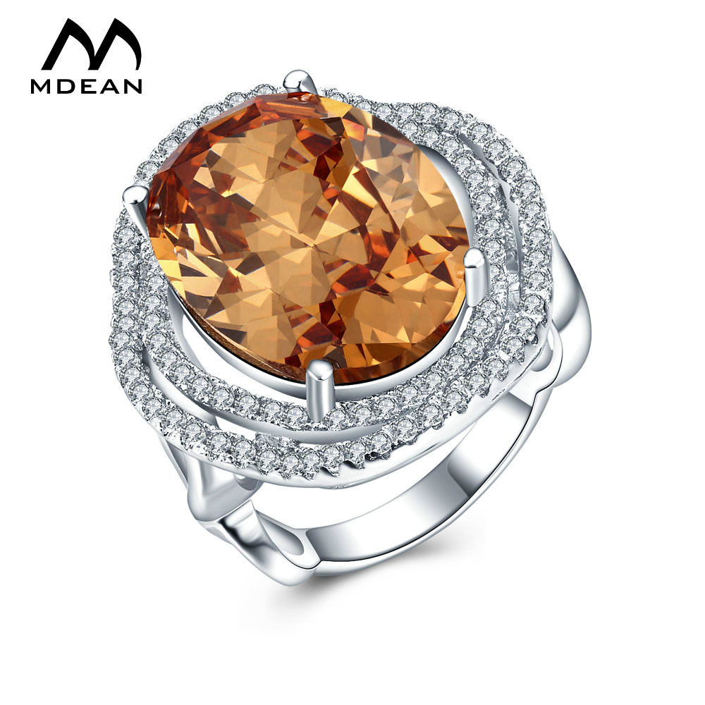 Mdean Stone White Gold Color Wedding Rings For Women Big Aaa Zircon Jewelry Ring  Engagement Bague Bijoux Size 6 7 8 Msr816