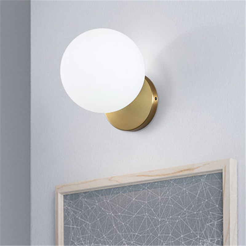 Nordic Creative Round Glass Ball Wall Sconce Loft Style Modern LED Wall Light Fixtures Home Bedside Wall Lamp Indoor Lighting nordic vintage loft style wall lamp glass wood rocker bedside light fixtures for alise bar cafe indoor home lighting luminaire