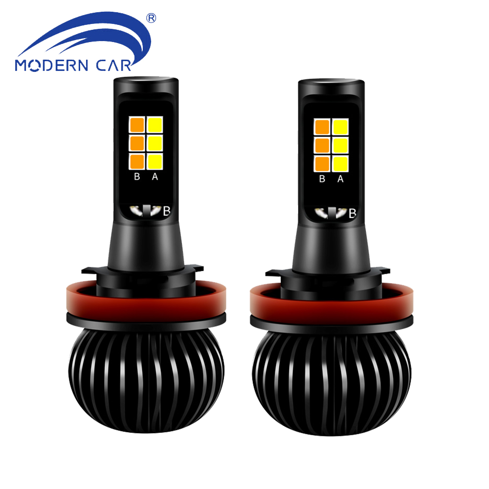 MODERN CAR Pair 70W Fog Light Dual Color White/Yellow H11 H4 H7 H1 H3 880 9005 HB3 9006 HB4 Auto LED Front Fog Lamp Bulbs DC12V auxmart car led headlight h4 h7 h11 h1 h3 9005 9006 9007 cob led car head bulb light 6500k auto headlamp fog light