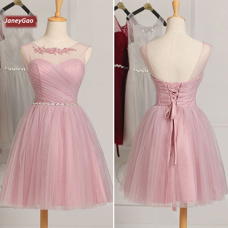 JaneyGao Short   Prom     Dresses   Women Elegant Short   Prom   Party Gown Tulle Lace Up 2019 New Fashion Design Sleeveless Formal   Dresses
