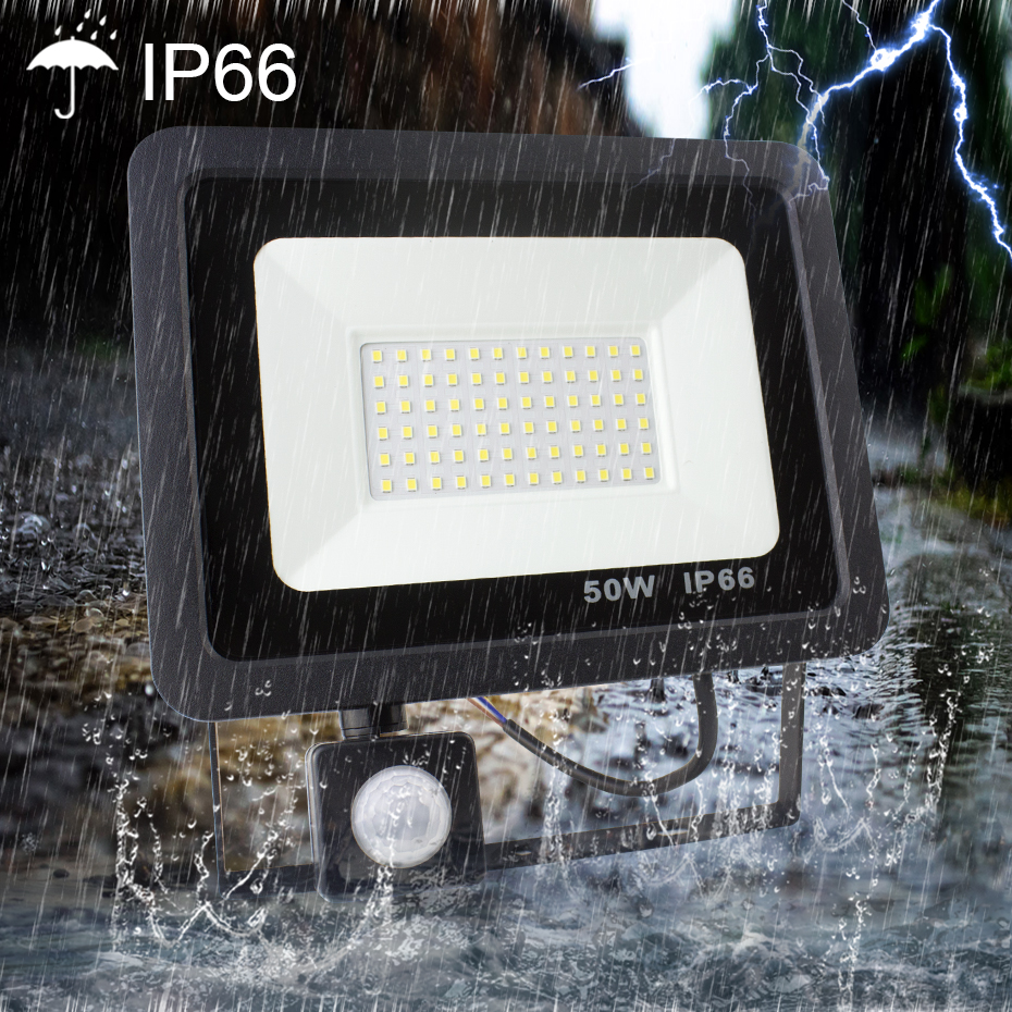 220V Motion Sensor LED Flood Light Waterproof IP66 Led Reflector foco led exterior Outdoor Spot Light Cold White10W/20W/30W/50W