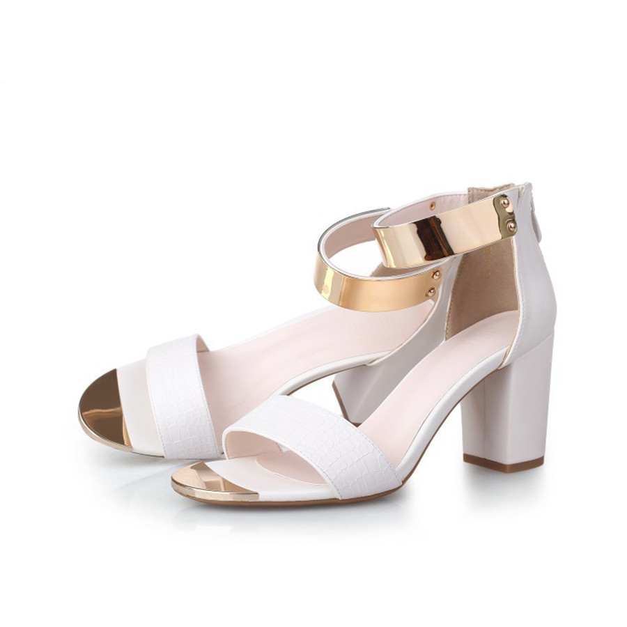 Womens sandals that zip up the back - Sale Top Summer Time Women Fashion Metal Decoration Sandals Thick Heel All Match Pumps Casual Office