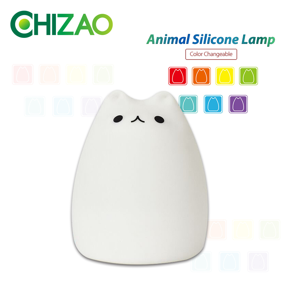 CHIZAO 7 Colors Cat LED Lamp Children's animal night light Silicone soft cartoon lamp Gift LED night light Room atmosphere light beiaidi 7 color usb rechargeable rabbit led night light dimmable animal cartoon light with remote baby kids christmas gift lamp