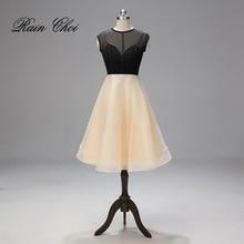 цена на Tea Length Evening Dresses Sleeveless Formal Party Gown vestido de festa Evening Dress 2019