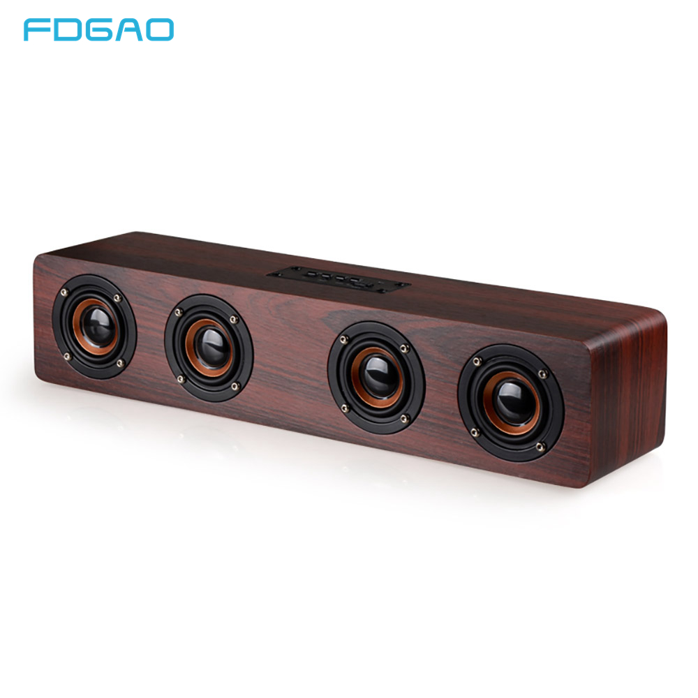 $38.98 FDGAO Wooden Wireless Bluetooth Speaker Portable HiFi Stereo Bass Altavoz TF caixa de som Soundbar for iPhone Sumsung Xiaomi