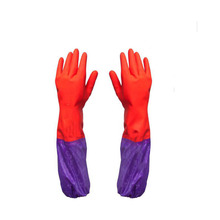 Household Rubber Gloves Ultra Thin Solid Color Long Sleeve Long Glove for Women in kitchen G520003