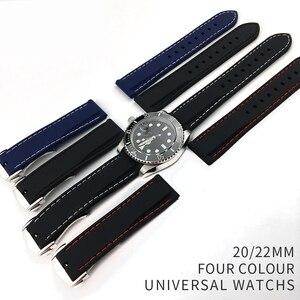 Image 2 - 20 Mm 22 Mm Universal Siliconen Horloge Bands Voor Seiko Sport Rubber Voor Breit Ling Band Horlogeband Voor Samsung gear S3 Armband Blauw
