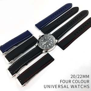 Image 2 - 20mm 22mm Universal Silicone Watch Bands For Seiko Sport Rubber for Breit ling Strap Watchband for Samsung Gear S3 Bracelet Blue