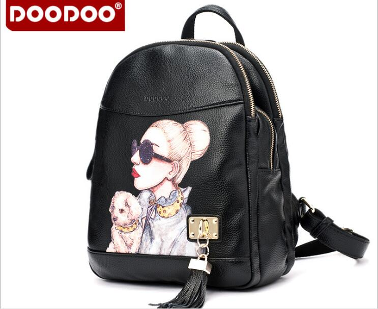 DOODOO Brand Hot Sale Fashion Designer Backpack Women bags Tassel Girls School bags High Quality PU