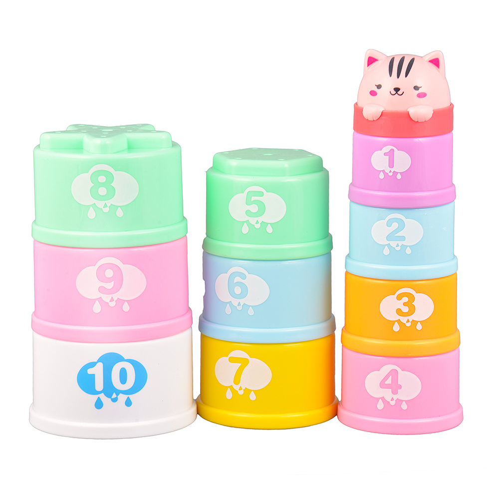 Baby Stacking Cups Learning Count Number Tower Learning Bath Toy Toddlers Early Educational Building Blocks Toys for Children P0 54pcs children wooden tower wiss toys kids wood number building blocks christmas gifts educational toy fast shipping english