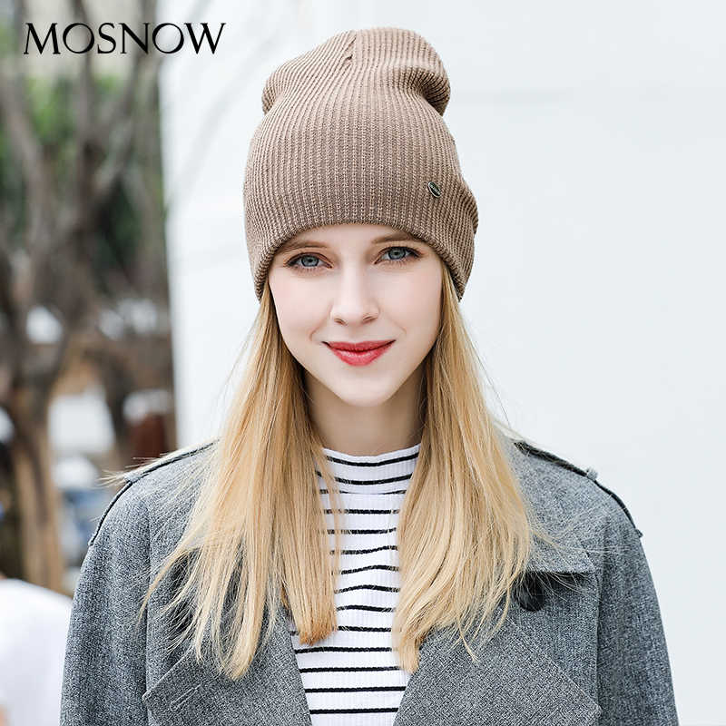 eb60e0537d9 ... MOSNOW Hat Female Cotton Solid Brand New Fashion 2018 Winter High  Quality Knitted Warm Women s Hats ...