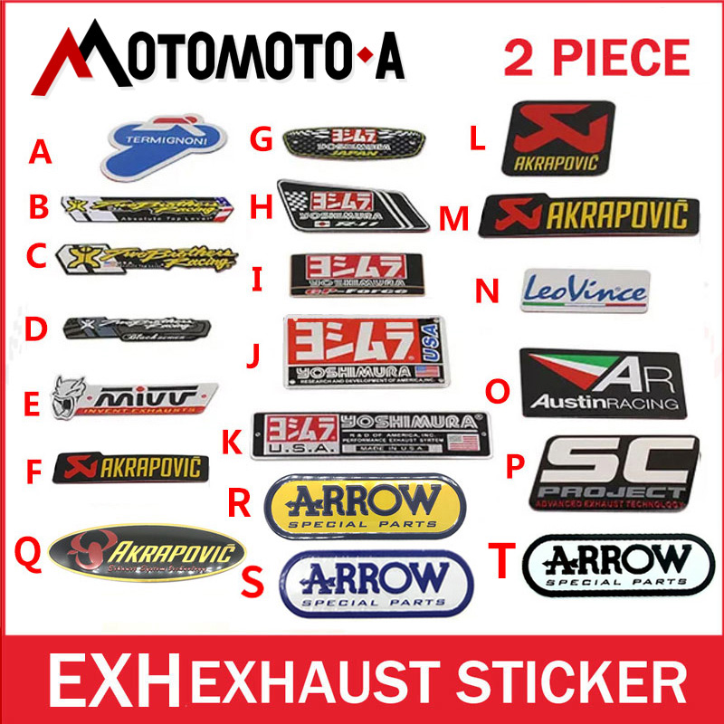 Two Decal Stickers Uto Exhaust-Pipes Yoshimura Mivv Leovince Motorcycle AKRAPOVIC Car