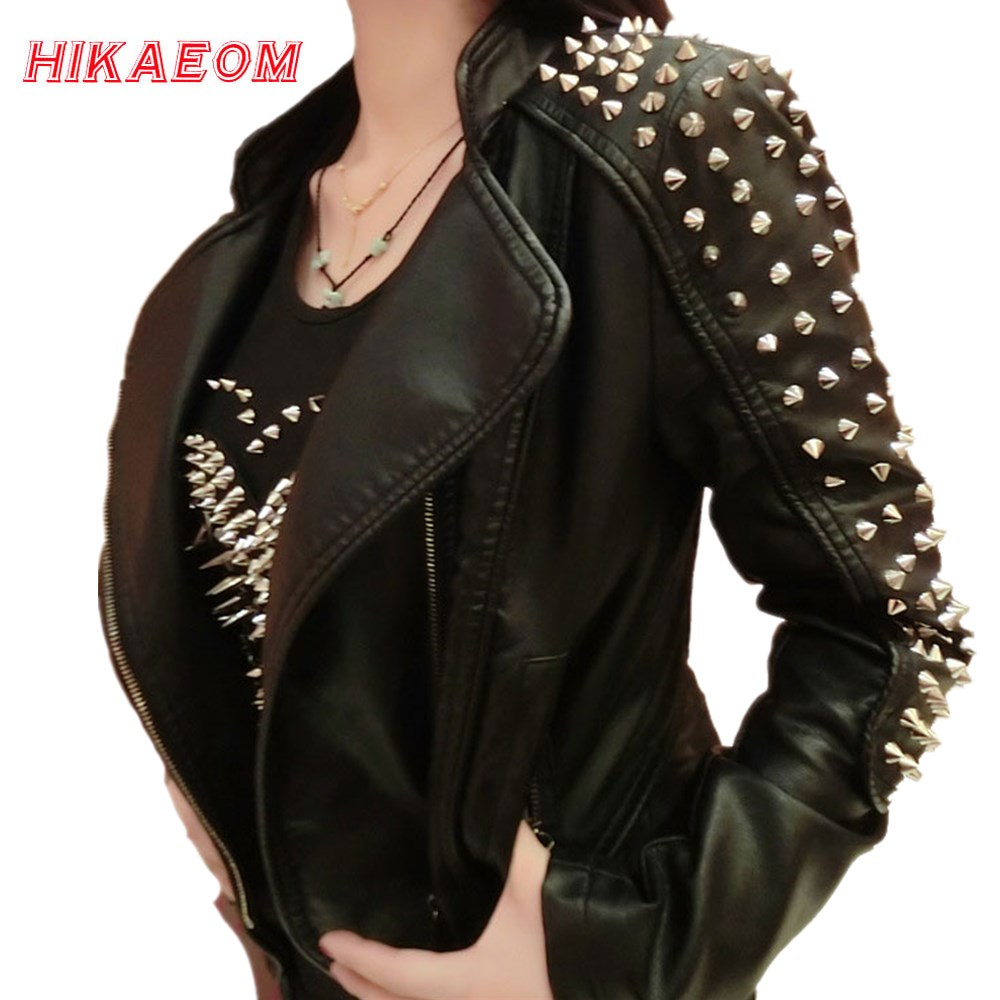 Casaco Feminino Kim Fashion Leather Jacket Spikes Stars Slim Bi-metal Silver Rivet metallic jacket Pu Leather Coats Women