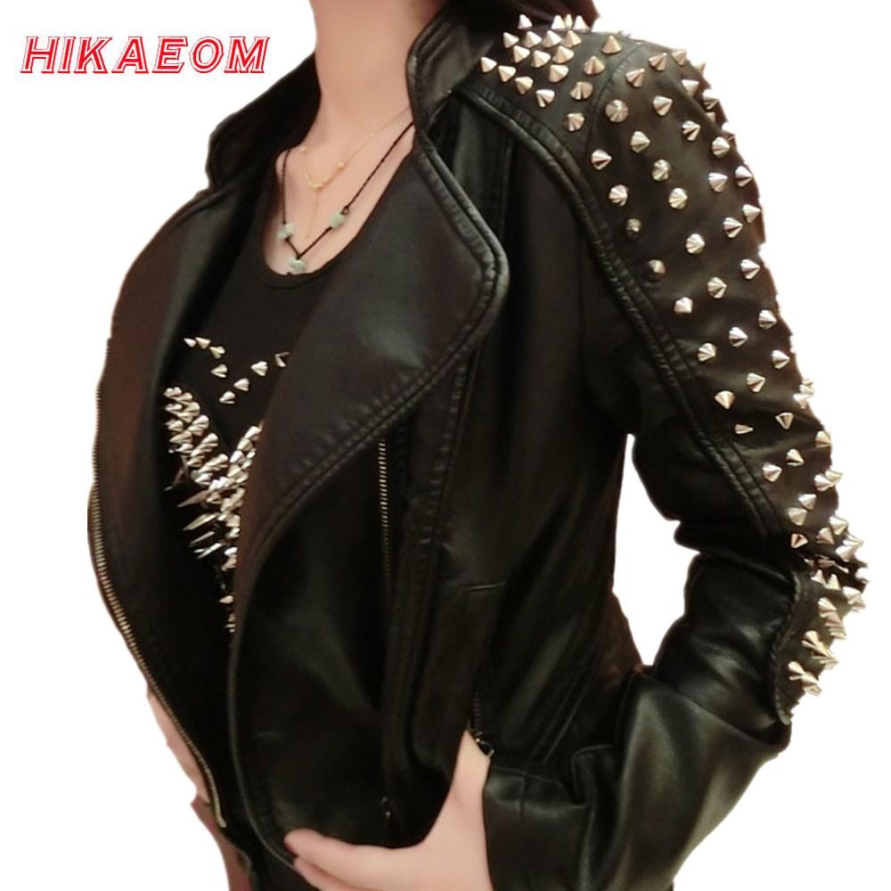 Casaco Feminino Kim Fashion Leather Jacket Spikes Stars Slim Bi-metal Silver Rivet metallic jacket Pu Leather Coats Women