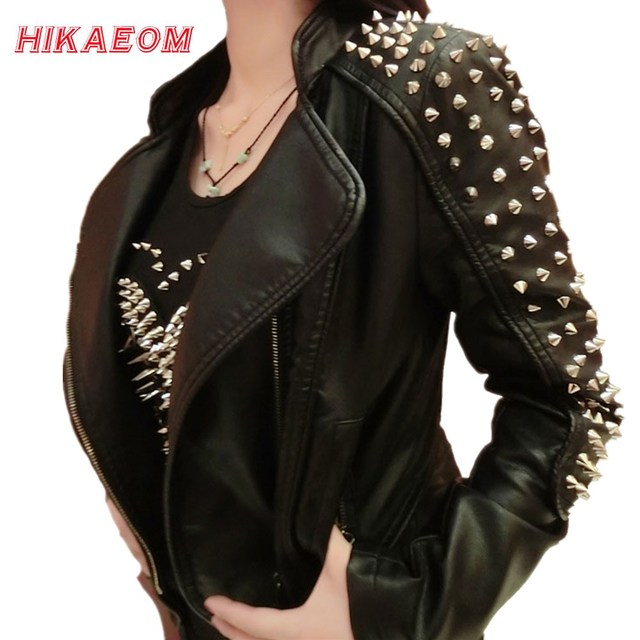 Casaco Feminino Kim Fashion Leather Jacket Spikes Stars Slim Bi metal Silver Rivet metallic jacket Pu Leather Coats Women