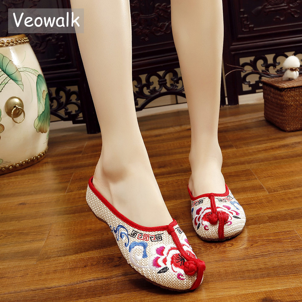 Veowalk Summer Women's Linen Embroidered Flat Slippers Retro Chinese Style Ladies Breathable Canvas Slides Shoes Home/Outside