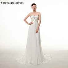 Forevergracedress A Line Chiffon Sleeveless Wedding Dress Sexy Sweetheart Neckline Beaded Bridal Gown Plus Size Custom Made