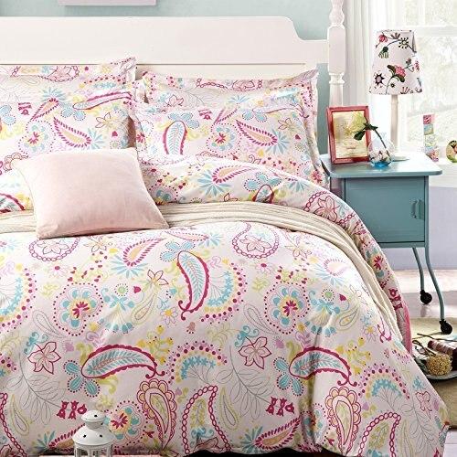 Unihome 100% Cotton Duvet Cover Sets, Print Floral Pattern Design, Full Queen Size Bedding set(MYMQ)