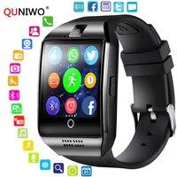 QUNIWO Bluetooth Смарт-часы Для мужчин Q18 с Сенсорный экран большой Батарея Поддержка сим-карта TF Камера для телефонов на базе Android с Bluetooth шагомер 2018