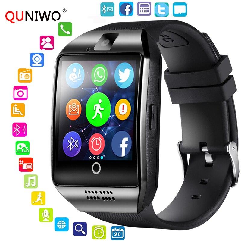 QUNIWO Bluetooth Smart Uhr Männer Q18 Mit Touchscreen Große Batterie Unterstützung TF Sim Karte Kamera für Android Telefon Passometer 2018