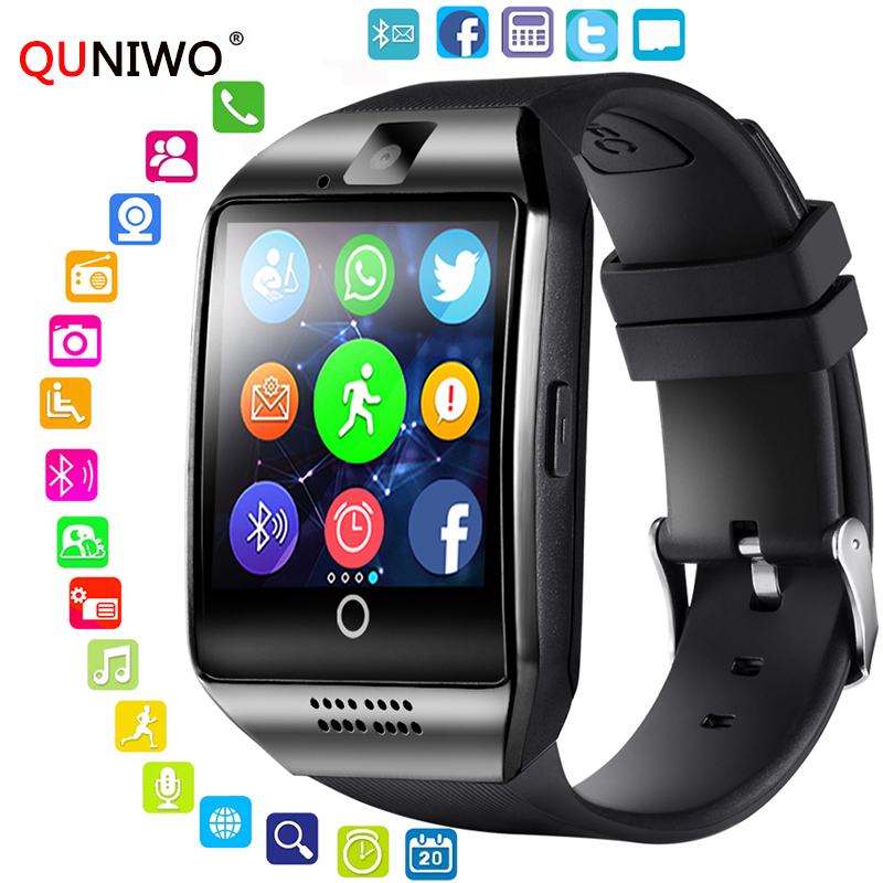 QUNIWO Bluetooth Smart Watch Men Q18 With Touch Screen Big Battery Support TF Sim Card Camera