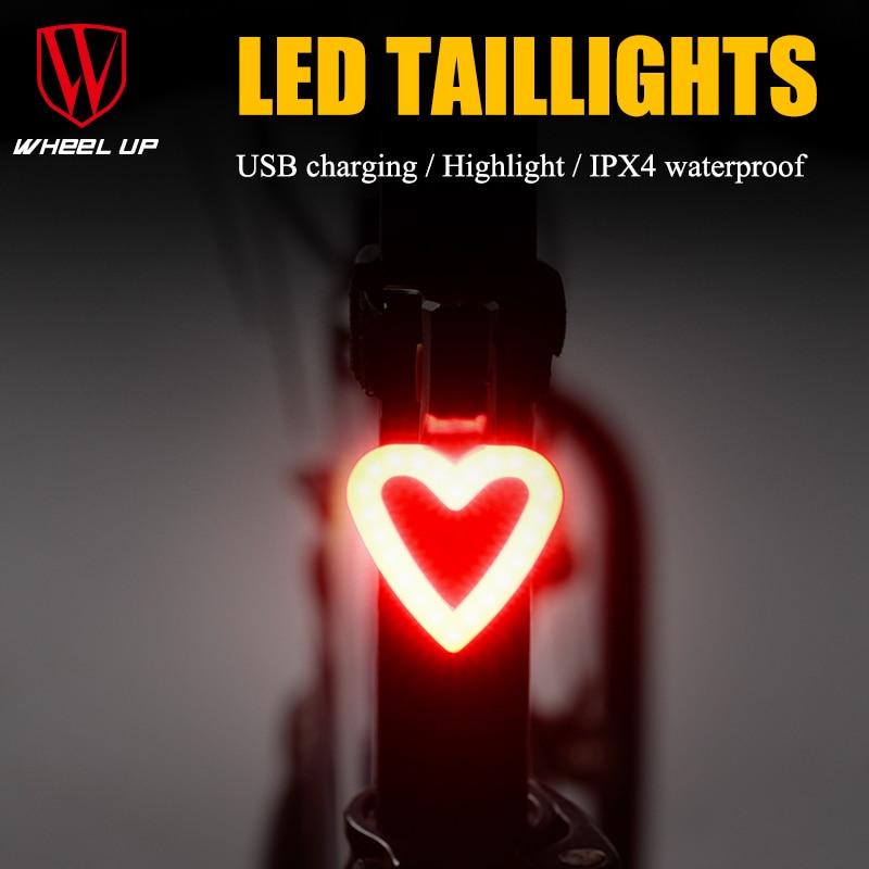 Bike Light Round & LovingTaillight Usb Zvýrazněné vodotěsné horské kolo zadní světla Zadní světlo Cyklistické vybavení Velofonar