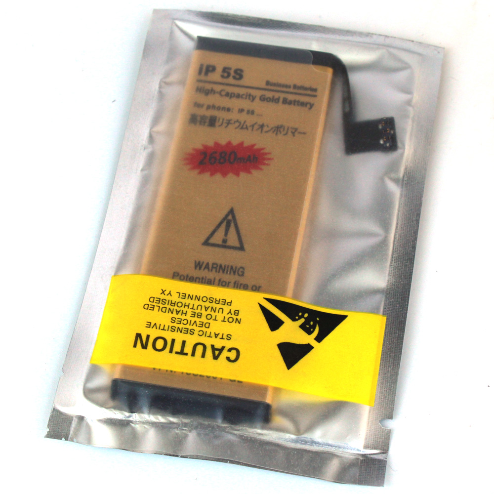 iP5S new upgrade 0 cycle Sealed package High Capacity Gold Battery For Apple iPhone 5s iphone5s Cell Mobile phone Batteries