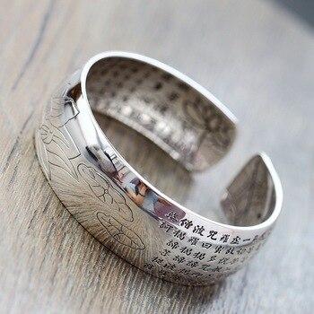 Retro Silver Jewelry Wholesale S990 Sterling Silver Bangle Quan Yin Bodhisattva Heart Bangle Full Silver Wide Women Bangle фото