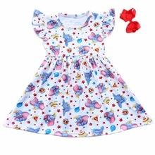 New Arrived Fall Baby Girls Elephant Start Printed Dress Children Boutiqe Pearl Milk Silk Dress Match Accessory